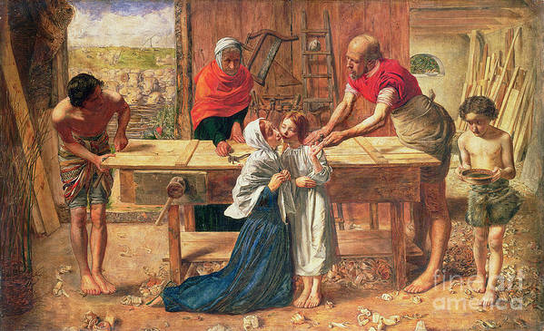 Christ In The House Of His Parents Print featuring the painting Christ In The House Of His Parents by JE Millais and Rebecca Solomon