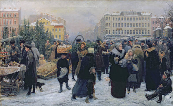 Christmas Art Print featuring the painting Christmas Fair by Heinrich Matvejevich Maniser