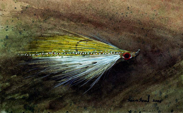 Fishing Fly Art Print featuring the painting Clouser Minnow by Sean Seal