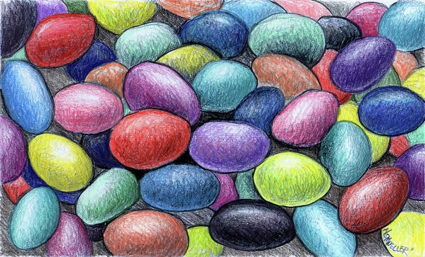 Jelly Beans Art Print featuring the drawing Colorful Beans by Nancy Mueller