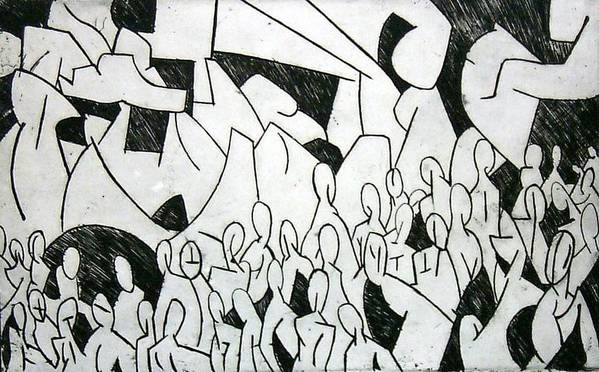 Etching Art Print featuring the print Crowd by Thomas Valentine