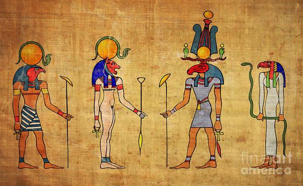 Egypt Art Print featuring the digital art Egyptian Gods And Goddness by Michal Boubin