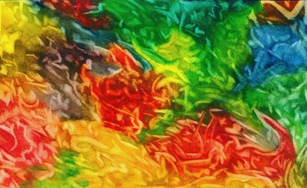 Abstract Art Print featuring the painting Fire And Ice by Katina Cote