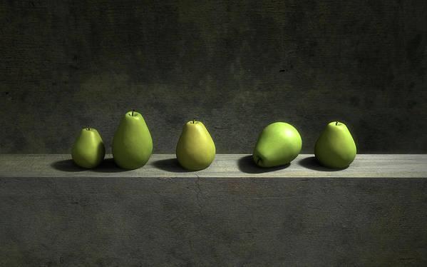Green Art Print featuring the digital art Five Pears by Cynthia Decker