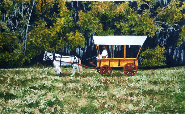 Fort Toulouse Art Print featuring the painting Fort Toulouse Heading Back To The Fort by Beth Parrish