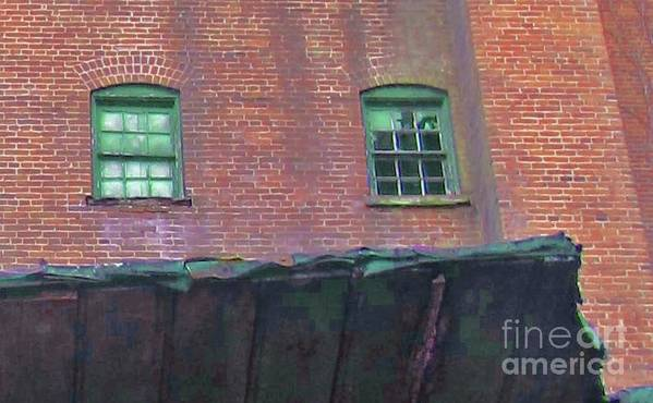 Brick Art Print featuring the photograph Green Window by Tracy Long