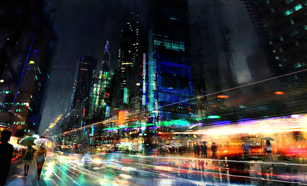 City Art Print featuring the digital art In Motion by Philip Straub