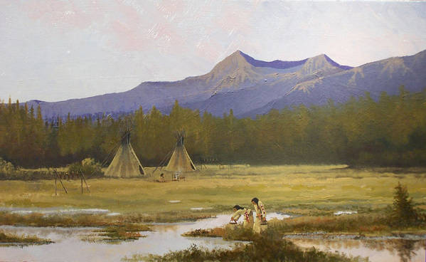 Landscape & Figures Art Print featuring the painting Indian Camp by Dalas Klein