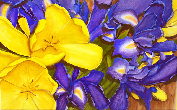 Watercolor Art Print featuring the painting Iris Withtulip by Robert Thomaston