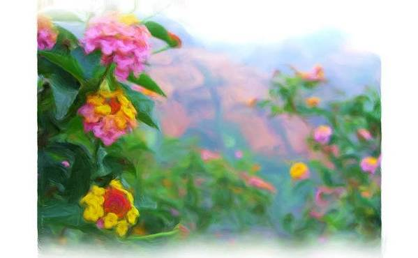Landscape Art Print featuring the painting Kauai Canyon Hawaii Flowers by Jonathan Galente