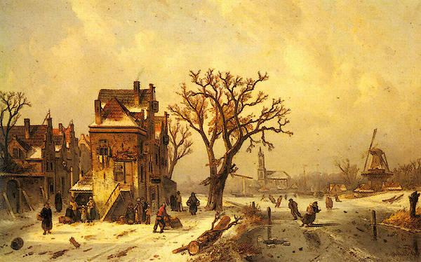 Leickert Art Print featuring the digital art Leickert Charles Skaters In A Frozen Winter Landscape by PixBreak Art