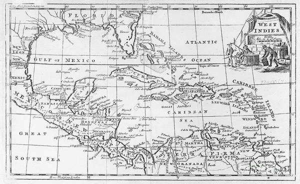 Map Art Print featuring the painting Map Of The West Indies Florida And South America by English School