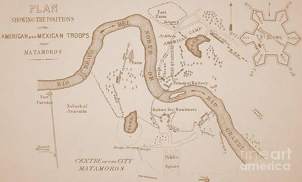 Mexican-american War Map Of Us Troops Near Rio Grande And Matamoros, 1849  Art Print