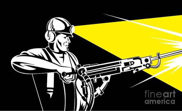 Illustration Art Print featuring the digital art Miner With Jack Leg Drill by Aloysius Patrimonio