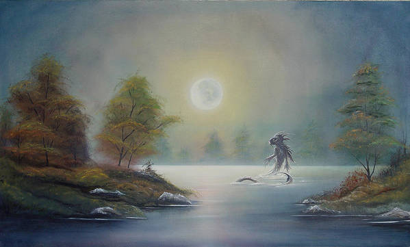 Landscape Art Print featuring the painting Monstruo Ness by Angel Ortiz