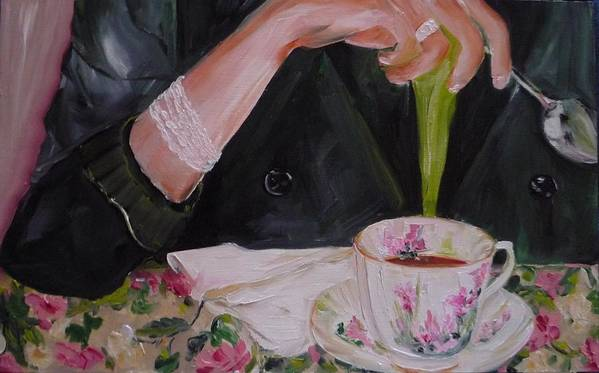 Food Art Print featuring the painting My Cup Of Tea by Irit Bourla