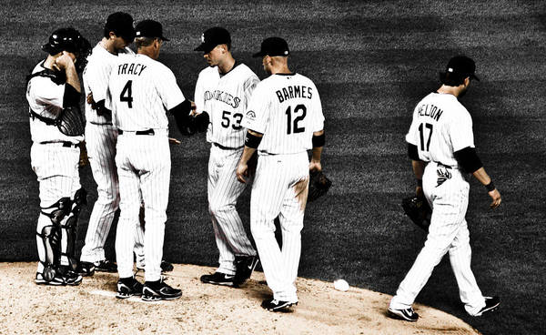 Baseball Art Print featuring the photograph My Rock Collection - Colorado Rockies by Marilyn Hunt