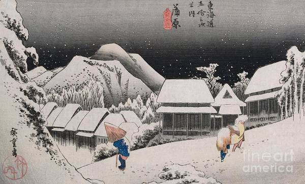 Night Snow Print featuring the painting Night Snow by Hiroshige
