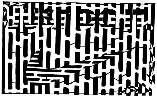 Just Do It Art Print featuring the drawing Nike Maze by Yonatan Frimer Maze Artist