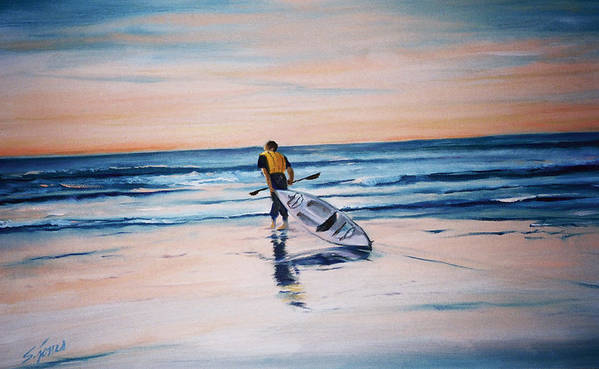 Art Print featuring the painting Ocean Kayak by Shari Jones