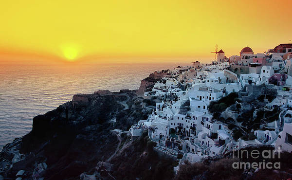 Sun Art Print featuring the photograph Oia Town , Santorini Island, Greece by Antonio Gravante