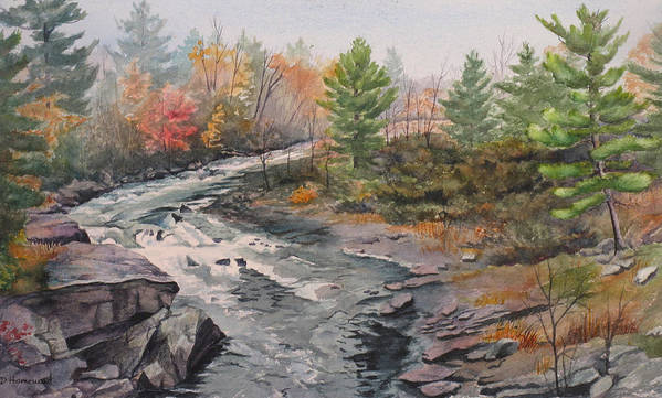 Burleigh Art Print featuring the painting Old Burleigh Stream by Debbie Homewood