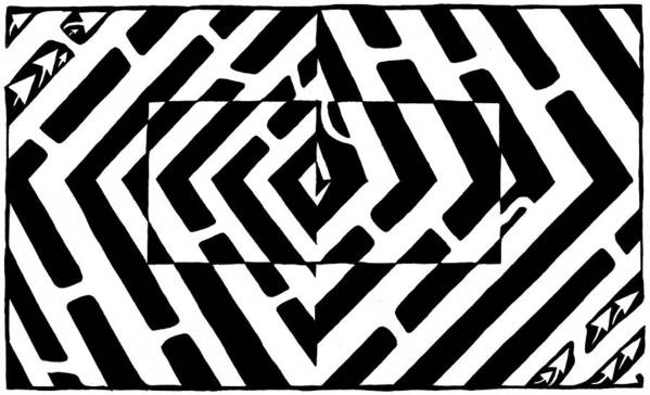 Optical Illusion Art Print featuring the drawing Optical Illusion Maze Of Floating Box by Yonatan Frimer Maze Artist