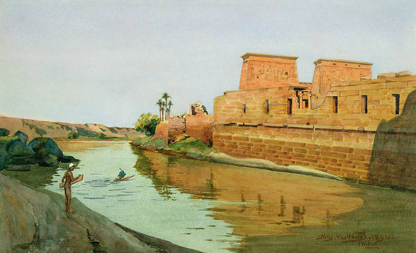 Temple Complex; River; 3rd Century Bc; Philae On The Nile Art Print featuring the painting Philae On The Nile by Alexander West