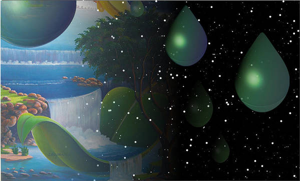 Suarrealism Art Print featuring the painting Planet Water by Leomariano artist BRASIL