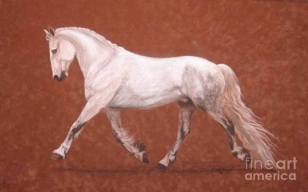 Horses Art Print featuring the pastel Popi by Gail Finger
