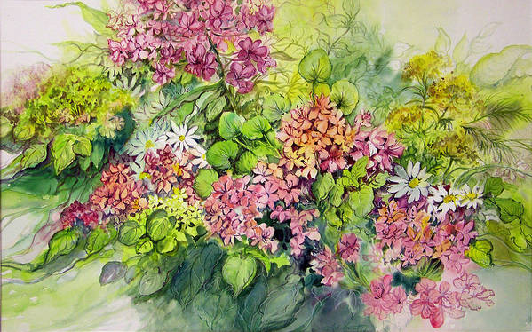 Flowers;floral;watercolor Floral;contemporary Floral;daisies; Art Print featuring the painting Profusion Of Colors by Lois Mountz