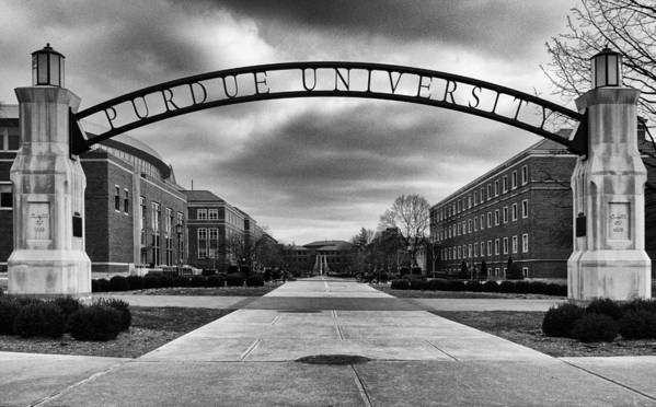 Purdue Print featuring the photograph Purdue Entrance Sign by Coby Cooper