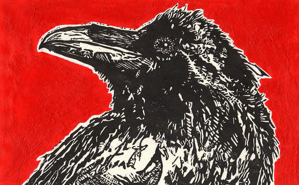 Linocut Print featuring the painting Red Hot Raven by Julia Forsyth