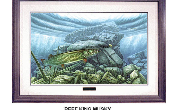 Jon Q Wright Art Print featuring the painting Reef King Musky by JQ Licensing
