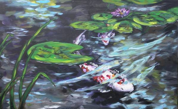 Koi Fish Water Waterscape Lily Pad Pond Reeds Nature Art Print featuring the painting Ripple Rouser by Alan Scott Craig