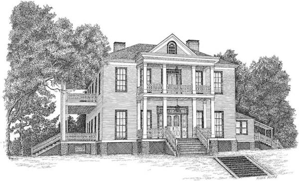 Architectural Art Print featuring the drawing Schluter House In Jefferson Texas by Mickie Moore