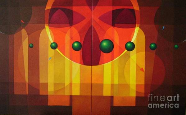 Geometric Abstract Art Print featuring the painting Seven Windows - 2 by Alberto DAssumpcao