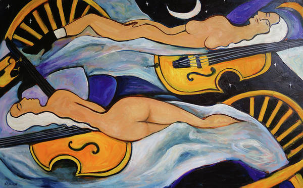 Musicians Art Print featuring the painting Sleeping Cellists by Valerie Vescovi