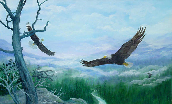 Eagles;birds;river Valley;mountains;sky; Art Print featuring the painting Soaring by Lois Mountz