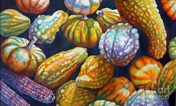 Still Life Art Print featuring the painting Squash by Gail Zavala