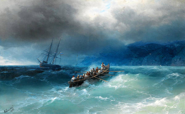 Ivan Aivazovsky Art Print featuring the painting Storm Over The Black Sea by Ivan Aivazovsky