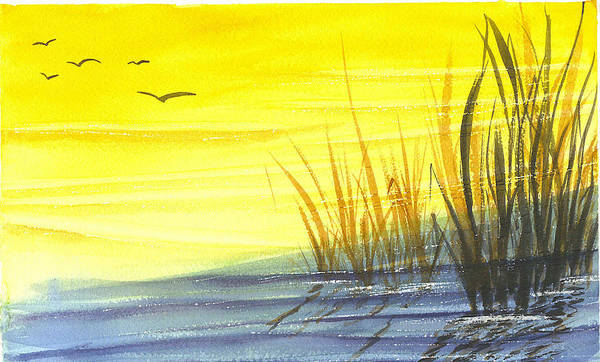 Water Art Print featuring the painting Summer Gold by Ruth Bevan