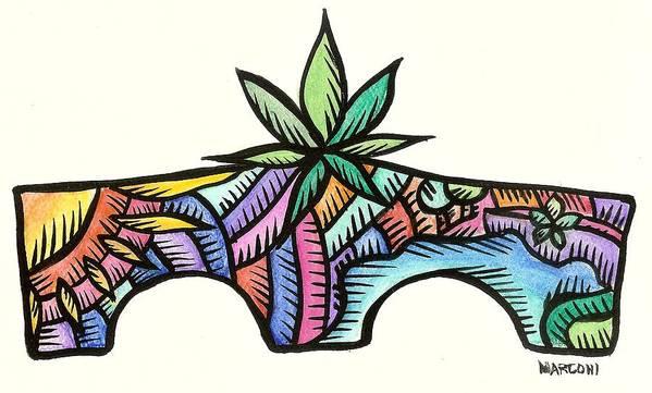 Art Print featuring the painting Tailafak Bridge Guam 2009 by Marconi Calindas
