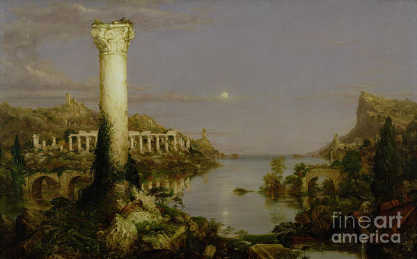 Moonlit Landscape; Classical; Architecture; Ruin; Ruins; Desolate; Bridge; Column; Hudson River School; Moon Art Print featuring the painting The Course Of Empire - Desolation by Thomas Cole