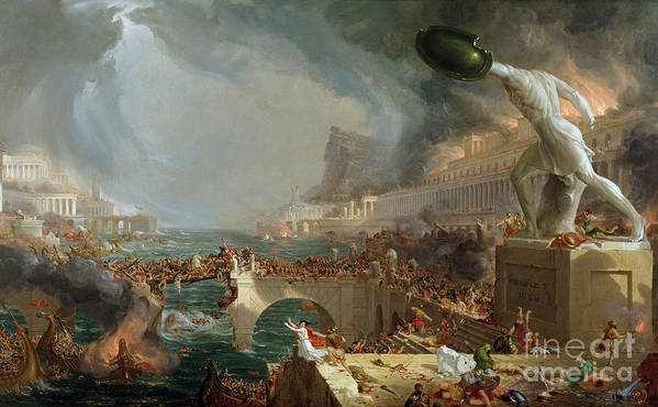 Destroy; Attack; Bloodshed; Soldier; Ruin; Ruins; Shield; Monument; Bridge; Classical Architecture; Galleon; Barbarian; Barbarians; Possibly Fall Of Rome; Hudson River School; Statue Art Print featuring the painting The Course Of Empire - Destruction by Thomas Cole