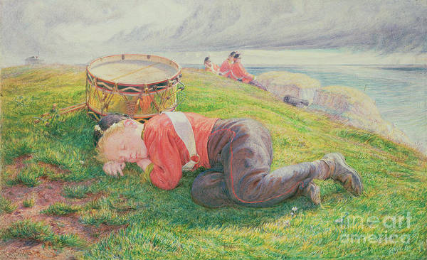 The Art Print featuring the painting The Drummer Boy's Dream by Frederic James Shields