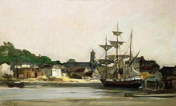 The Print featuring the painting The Harbour At Honfleur by Karl Pierre Daubigny