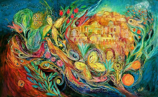 Original Art Print featuring the painting The Jerusalem Key by Elena Kotliarker