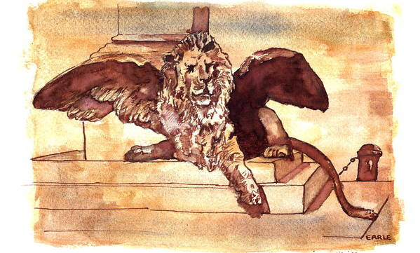 Sketch Art Print featuring the drawing The Lion Of Venice by Dan Earle