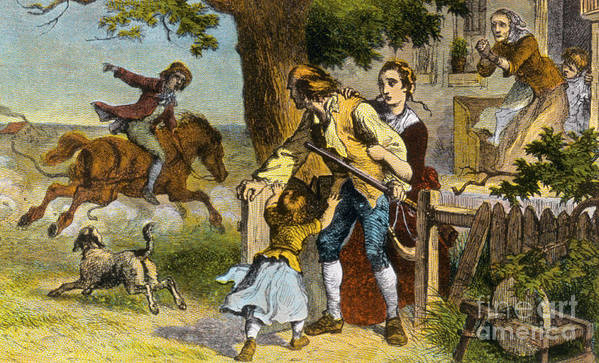 History Print featuring the photograph The Midnight Ride Of Paul Revere 1775 by Photo Researchers